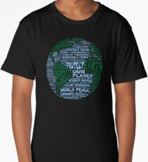 Protect Earth - Blue Green Words for Earth Long T-Shirt