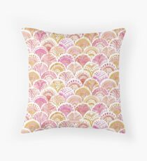 Sunset MERMAID DAYDREAMS Watercolor Scales Throw Pillow