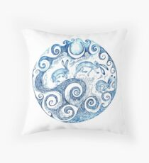 The Hares Jumped over the waves- Blue Throw Pillow