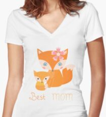 Mother and kid fox family - Best mom Women's Fitted V-Neck T-Shirt