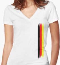 German flag colors stripes Women's Fitted V-Neck T-Shirt