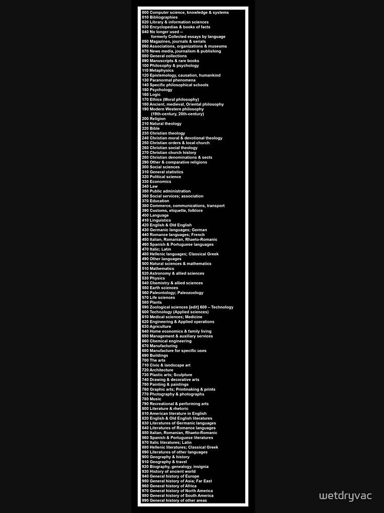 Library Sign - Dewey Decimal System by Tens -  Black by wetdryvac