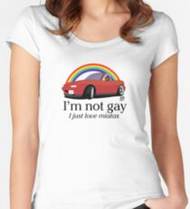 I'm not gay I just love my Miata! Women's Fitted Scoop T-Shirt