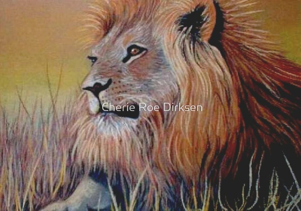 Lion Sitting in Grass by Cherie Roe Dirksen