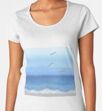 Blue, sea, beach, sun, summer, pastel water colors, colors, nature, sky, blue sea, blue sky, clouds, waves, story, silvery tale, yellow, golden, apstract Women's Premium T-Shirt