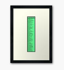 Library Sign - Dewey Decimal System by Tens -  Titled Neon Green Framed Print