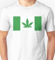 Green Canadian flag with marijuana leaf Unisex T-Shirt