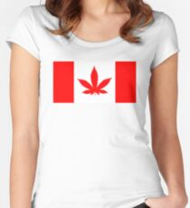 Red Canadian flag with marijuana leaf Women's Fitted Scoop T-Shirt