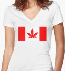 Red Canadian flag with marijuana leaf Women's Fitted V-Neck T-Shirt