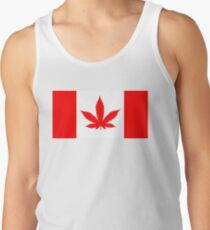 Red Canadian flag with marijuana leaf Tank Top