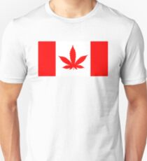 Red Canadian flag with marijuana leaf Unisex T-Shirt