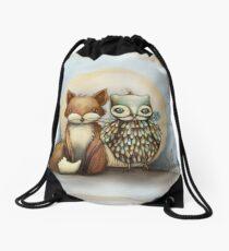 fox and owl Drawstring Bag