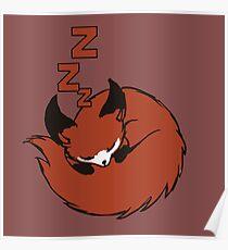 Sleepy fox Poster
