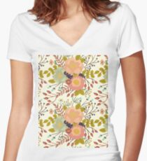 Elegant seamless pattern with flowers Women's Fitted V-Neck T-Shirt