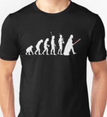 The Dark Side Of Evolution - White  Slim Fit T-Shirt