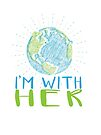 I'm With Her - Earth Scribble in Blue and Green by jitterfly