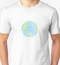 Earth Scribble in Blue and Green Unisex T-Shirt