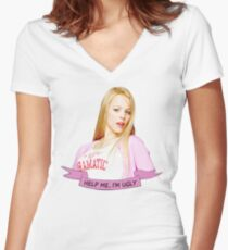help me im ugly Women's Fitted V-Neck T-Shirt