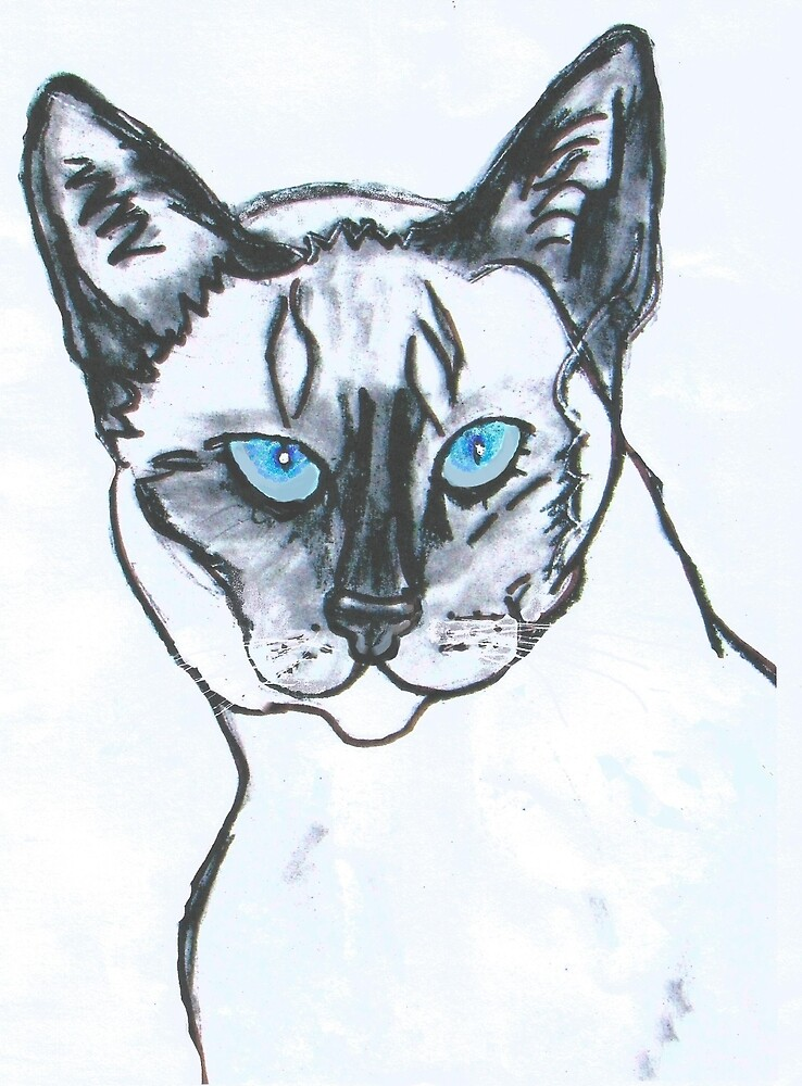 Siamese Cat With Blue Eyes by LeonaPaints