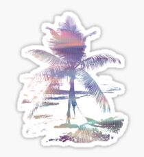 Rainbow Beach Colorful Palm Tree  Sticker