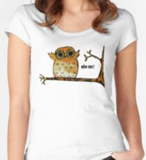 Who Me? Owl Women's Fitted Scoop T-Shirt