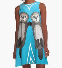 Otters Holding Hands - Sea Otter Couple A-Line Dress
