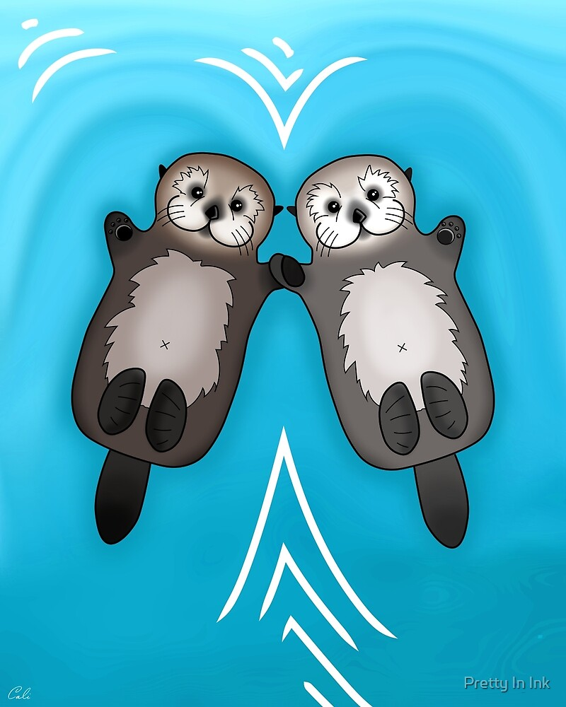 Otters Holding Hands - Sea Otter Couple by Pretty In Ink