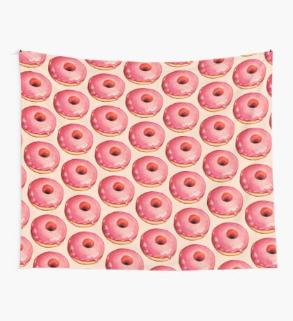 Strawberry Donut Pattern Wall Tapestry