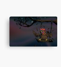 swinging rooster Canvas Print