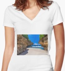 Merrial Beach View Women's Fitted V-Neck T-Shirt