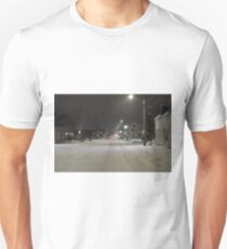 Snow storm on main street Unisex T-Shirt