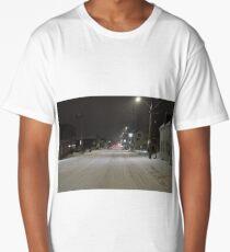 Snow storm on main street Long T-Shirt