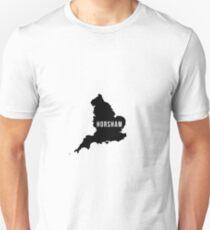 Horsham, West Sussex England UK Silhouette Map Unisex T-Shirt