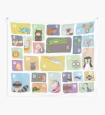 Whimsical Alphabet Print Wall Tapestry