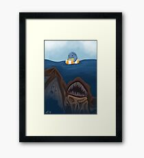 """There's something in the water!"" Framed Print"