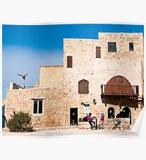 renovated building in Old Jaffa, Now an artist's colony, Israel  Poster