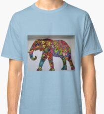 Red flower power elephant Classic T-Shirt