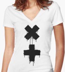 black white garrix Women's Fitted V-Neck T-Shirt