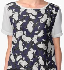 Dark Penguins and Dogs Chiffon Top