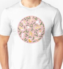 Cats And Cukes - Pink With Blossoms Unisex T-Shirt