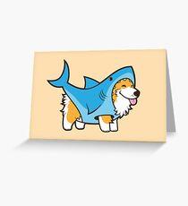 Tarjeta de felicitación Corgi en un traje de tiburón