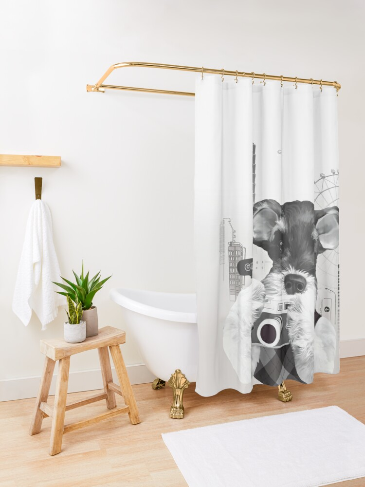 Alternate view of Schnauzer with Camera Shower Curtain