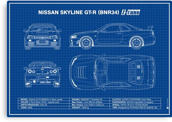 Blueprint - Nissan Skyline GT-R (R34) Z-Tune (Blue)\