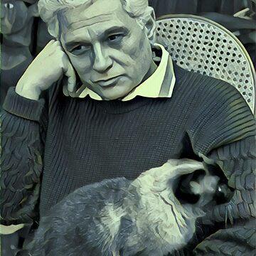 Derrida and Cat - stylized by jaxxmc