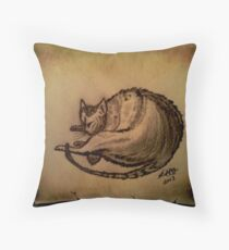 THE SLEEPING CAT  Throw Pillow