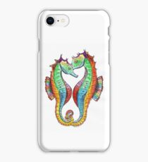 Rainbow Seahorses Linking Tails iPhone Case/Skin