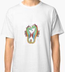 Rainbow Seahorses Linking Tails Classic T-Shirt
