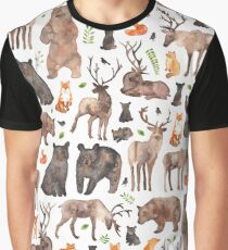 Woodland Animals Graphic T-Shirt
