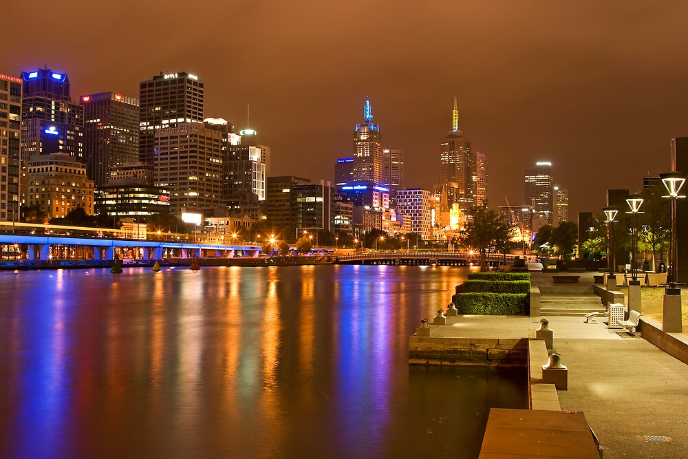 Along the Yarra at night by Andrew Klym