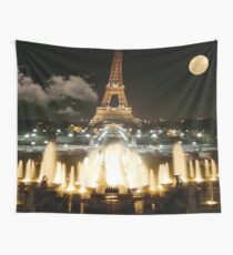 Eiffel Tower at Night Wall Tapestry